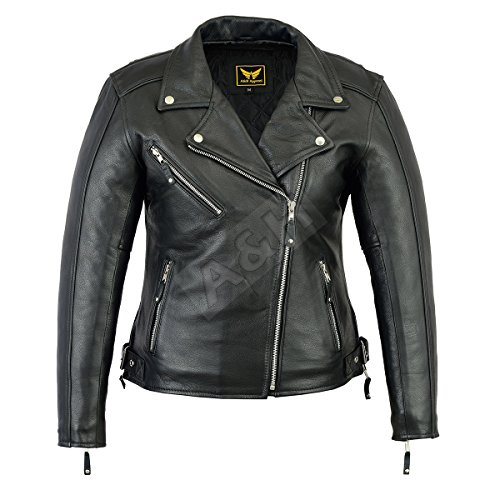 A&H Apparel Womens Ladies Motorcycle Leather Jacket Genuine Cowhide Durable Motorcycle and Casual Leather Jacket Gun Pocket (Large) Black