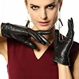 Traditional Womens Winter Texting Touchscreen Driving Lambskin Leather Gloves Wool Blend Lining