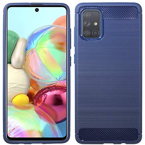 Preisvergleich Produktbild cofi1453® Silikon Hülle Bumper Carbon kompatibel mit Samsung Galaxy A71 A715F Case TPU Soft Handyhülle Cover Schutzhülle in Blau