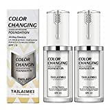 2 Pack TLM Foundation Makeup, All-Day Flawless Color Changing Liquid Foundation for Women and Men, Base Nude Face Cream Foundation. Improves Dark Circles, Red Marks and Skin Blemishes -40ml, SPF 15