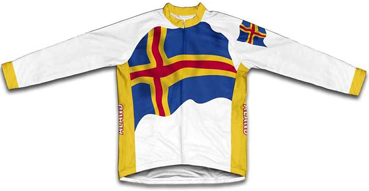 Aland Islands Flag Winter Thermal Cycling Jersey for Women