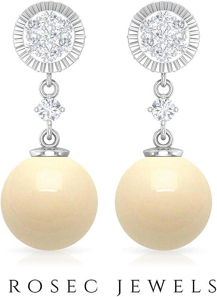 Elegant Drop Earrings, Diamond Cluster Earrings, Gold Engraved Earrings 14K Rose Gold Screw back