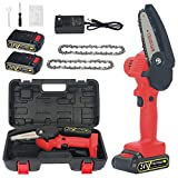 YOLIYOQU Mini Chainsaw,4-Inch Cordless Electric Chainsaw Portable Handheld Saw with 2Pcs Rechargeable Battery and 2Pcs Chain, Pruning Shears Chainsaw (4 Inch)