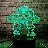 Marvel Hero Hulk 3D Cartoon Shade Switch Light For Boy Bedroom LED Table Lamp Avengers Figure Comic 7 Color USB RC Change Holiday Table Decor Mood Night Light Birthday Xmas Gift Boy Kids Toy(Fat Hulk)