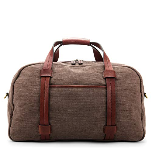 FABRIC & WASHED LEATHER LARGE DUFFEL BAG