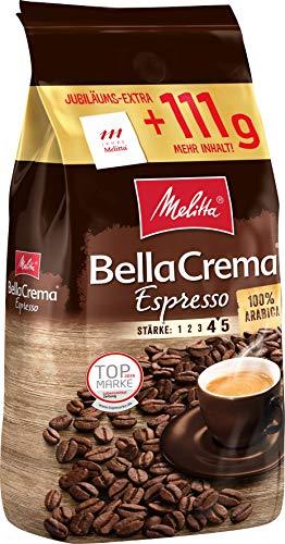 Melitta Ganze Kaffeebohnen, 100{69190b5496d19aa8b9ea1f6c7bdbbfb9383f93f105b308d8c35db946705c1bac} Arabica, Kräftig-Würziger Geschmack, Stärke 4-5, BellaCrema Espresso, 1111g