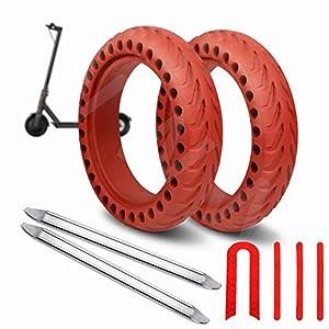 ANSENI Ruedas Macizas Roja para Patinete Electrico Rueda de 8.5 Pulgadas, Neumáticos de Reemplazo, Rueda de Repuesto Antipinchazo Compatible con Xiaomi Scooter Electrico M365/M365 Pro/Patinete Cecotec
