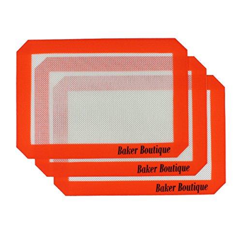 Baker Boutique, set di tappetini da forno in silicone, 30x 20cm tappetino da forno antiaderente e resistente al calore, riutilizzabile, di qualità professionale, 3 pezzi