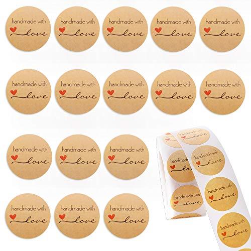 Gudotra 500pz Etichette Adesivi Handmade with Love Kraft Rotonde per Regalo Bomboniere Compleanno Matrimonio Battesimo Chiudi Pacchetti (stile11-500pz-Handmade with Love)