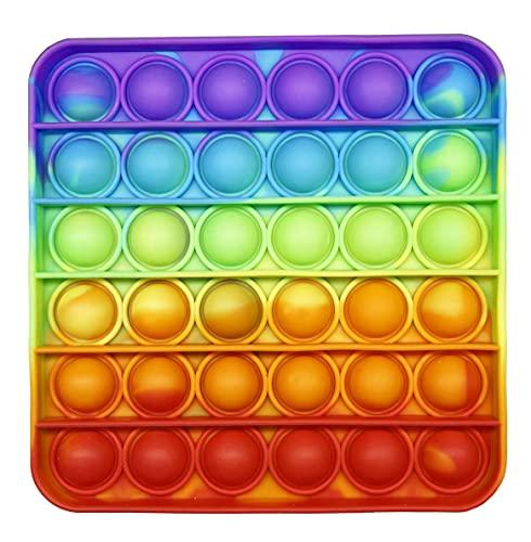 CRAZYCHIC - Pop It Anti Stress - Popit Push Bubble Fidget Toys - Jouet Jeux Enfant Pas Cher - Poppit Antistress Multicolore Silicone - Couleur Arc en Ciel - Fille ou Garçon - Carré