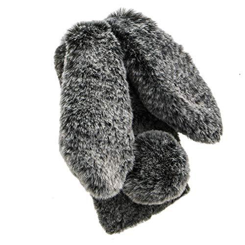 Miagon Handyhülle für iPhone 12,Super Weich Winter Warm Lustig Hase Ohren Kunstpelz Plüsch Fluffy Flexibel Handytasche Schale für iPhone 12