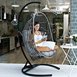 MOTRIP Wicker Rattan Swing Chair, Hanging Chair, Outdoor Patio Porch...