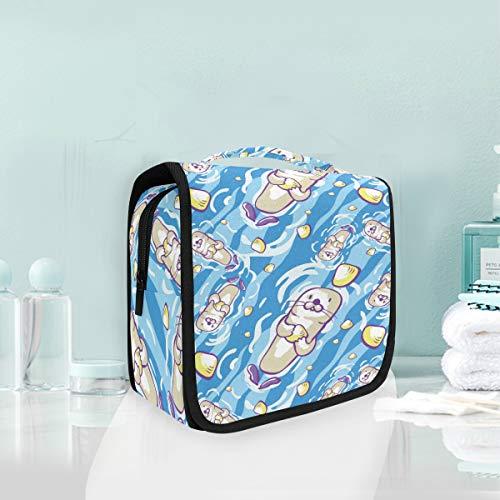 Lion De Mer Mignon Bleu Trousse De Toilette Sac Pliable Suspendu Cosmétique Sac Rangement Maquillage sacs pour Voyage Femmes Filles