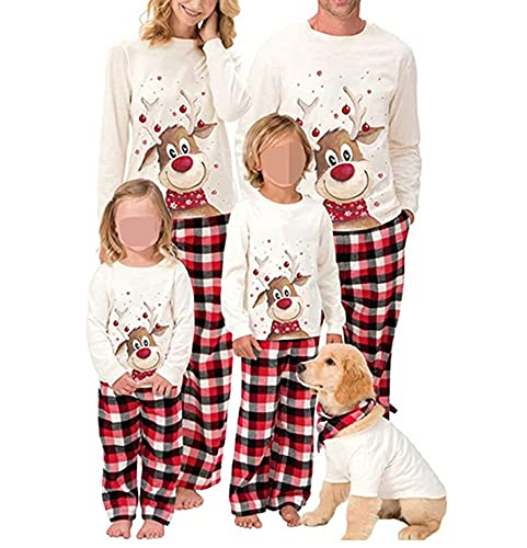Family Christmas Pjs Matching Sets Baby Christmas Matching Jammies for Adults and Kids Holiday Xmas Sleepwear Set-Women(FA Style, L)