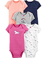 Carter's Baby Girls 5 Pack Bodysuit Set, Unicorn, 6 Months