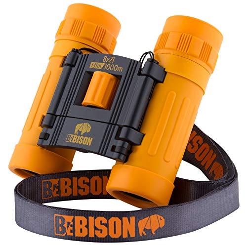 BeBison Binoculars for Kids and Adults - 8x21 High Resolution Real Optics - Premium Compact Folding Shockproof Kids Binoculars for Bird Watching - Outdoor Play - Spy Games - Best Boys & Girls Gift