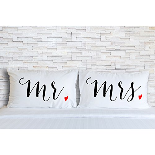 Rubies & Ribbons Mr and Mrs Embroidered Pillowcases for Couples - His and Hers Wedding, Bridal Shower, for Husband and Wife, Set of 2 Pillow Covers