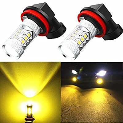 Alla Lighting H11 H8 LED Bulbs 3000K Golden Yellow Xtreme Super Bright Fog Light DRL High Power 3030 SMD Replacement for Cars,Trucks, SUVs, Vans