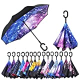 AmaGo Windproof Inverted Umbrella – UV Protection Double Layer Reverse Folding Long Self Standing Umbrella with C-Shape Handle for Car Rain Outdoor Travel(Constellation)