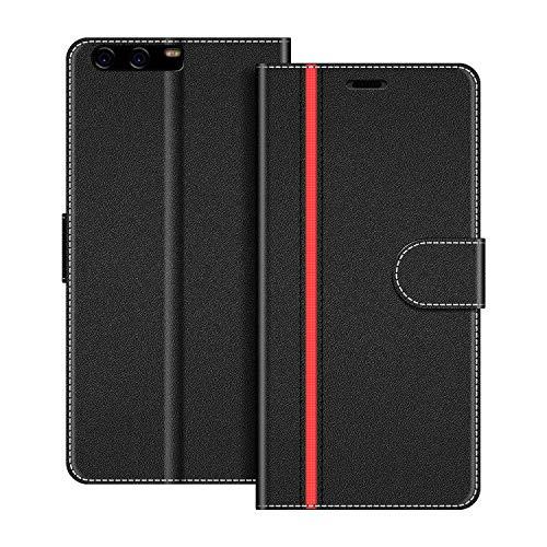 COODIO Handyhülle für Huawei P10 Handy Hülle, Huawei P10 Hülle Leder Handytasche für Huawei P10 Klapphülle Tasche, Schwarz/Rot
