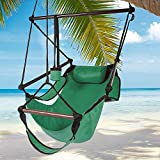 Best Choice Products Hammock Hanging Chair Air Deluxe Sky Outdoor Chair Solid Wood 250lb - Green