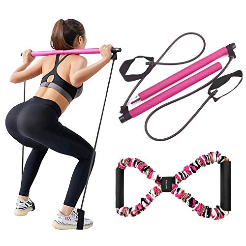 Pilates Bar Kit with Resistance Band,LADER Portable Resistance Band and Toning Bar Yoga Pilates Equipment Exercise Stick 8 Shape Body Shaping Resime Bar (Pink)