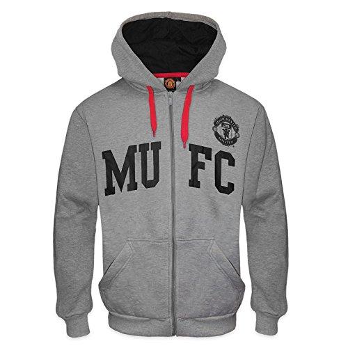 Manchester United FC - Herren Fleece-Hoody mit Grafik-Print - Offizielles Merchandise - Geschenk für Fußballfans - Grau MUFC - S