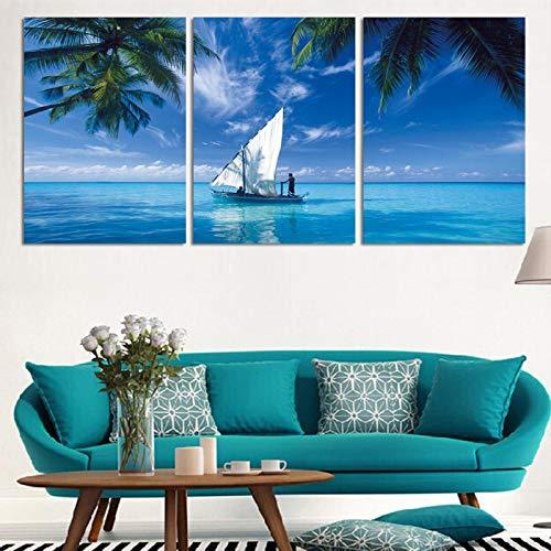 NFXOC Blue Sea Sky Sailing Landscape Arte de Pared Moderno Pintura en Lienzo Impresiones y Carteles para el hogar Imagen Decoración para Sala de Estar 7.9'x13.8 (20x35cm) x3 Sin Marco