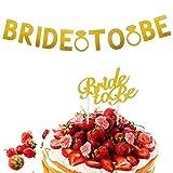 Dusenly Bride to Be - Striscione dorata glitterata con anello e decorazione per torta nuziale per addio al nubilato