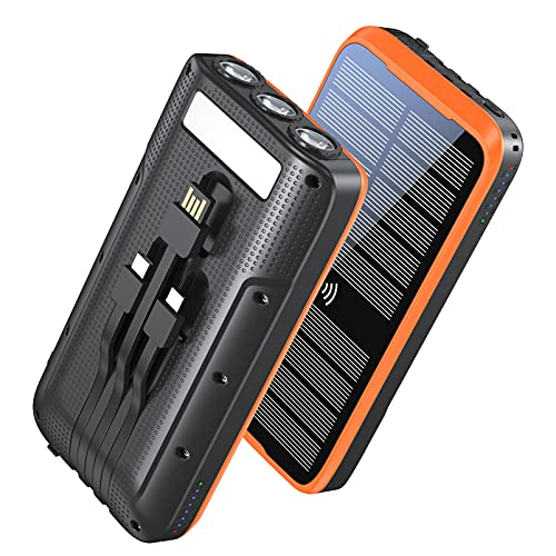 Portable Charger, ZONHOOD 38800mAh Solar Power Bank Fast Charging, 10W Wireless QC3.0 22.5W PD 20W, External Battery Pack with Built-in Type C and USB 3 Cables 5 Outputs, for iPhone Android