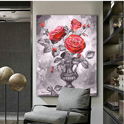 Cczxfcc met de hand getekende roos met bladeren in vaas bloemen muurkunst schilderijen voor de woonkamer canvas schilderij Home Decor 60 x 90 cm, frame.