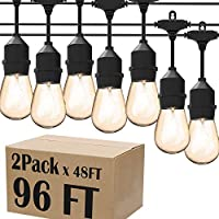 Magictec LED Shatterproof String Lights Commercial Grade with 15 Hanging Sockets 48 Ft Black Outdoor Weatherproof Cord...