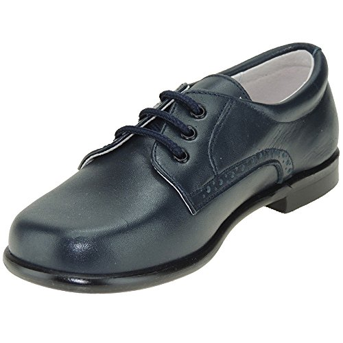 PITOSS Zapato Piel de Vestir y Comunión con Cordones para Niño Azul Talla 36