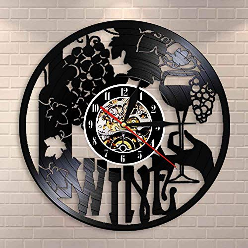 DJDLNK Wijnklok Wijngoed fles glas wijnwijnwijnstok drank alcohol bar embleem wandklok Zonder LED