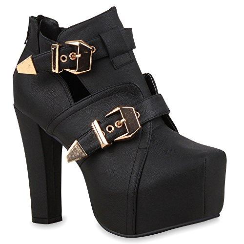 Stylische Damen Stiefeletten Plateau Boots Cut-Outs Schnallen Schuhe 64629 Schwarz Berkley 40 Flandell