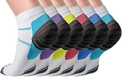 JFAN Chaussettes Hommes 6 Paires Sport Coton Socquettes Courtes Basses Respirantes Chaussette Hommes Antiderapante Chaussettes de Contention pour la Circulation Femmes Hommes,Blanche-S/M