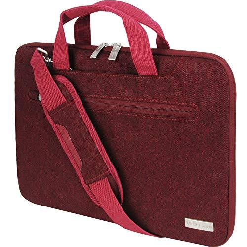 TECHGEAR Tasche für 12,8-13,3 Laptops - Tragbare Multifunktions Laptop hülle mit verstellbarem Schultergurt, Gepäckriemen und unterdrückbaren Griffen, Tragbarer Organizer Case mit Taschen - Rot