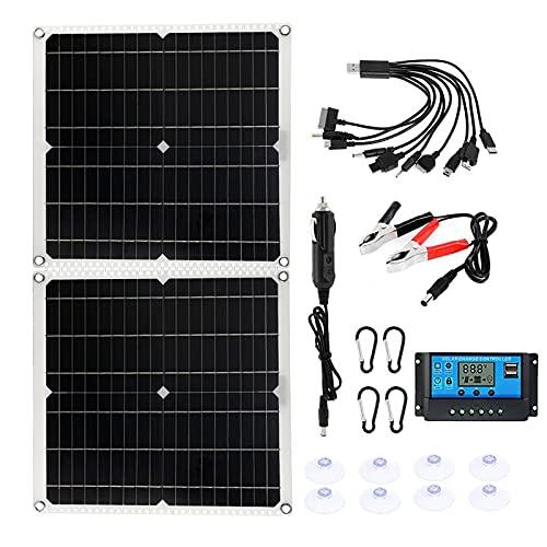 CHJAA Panel Solar De Empalme De Bisagra Solar 50w, con Controlador 10A...