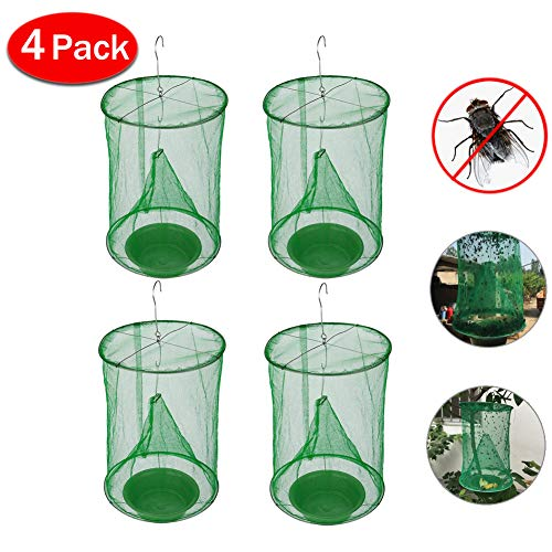 LKAN Ranch Fly Trap with Bait Tray Flay Catcher Reusable Fly Catcher Cage for Indoor or Outdoor...