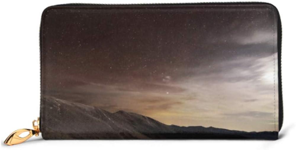 Fashion Handbag Zipper Wallet Mountains Landscape Night Moonlight Stars Phone Clutch Purse Evening Clutch Blocking Leather Wallet Multi Card Organi