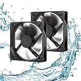 12V Waterproof Fan 120mm 2-Pack High Speed 12 Volt DC 2Wire 3Pin Exhaust Cooling Fan 3000RPM