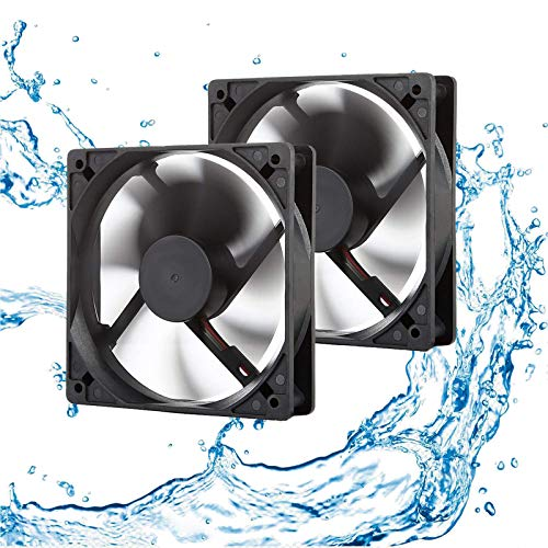 12V Moisture-Proof Fan 120mm 2-Pack High Speed 12 Volt DC 2Wire 3Pin Exhaust Cooling Fan 3000RPM