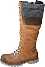 WILLBE Women's Knee High Lace Up Boots Women's Leisure Lace-Up Mixed Colors Flat Heels Large Size High Boots Shoes