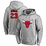 Baloncesto Sudadera con Capucha De La NBA Chicago Bulls # 23 Jordan Jersey Sudadera con Capucha Floja De Baloncesto De La Camiseta De Los Hombres,Gris,M:165~170cm