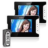 Ennio 7' LCD Monitor Unlock 1 Camera 2 LCD Screen Wired Video Door Phone Intercom Doorbell System