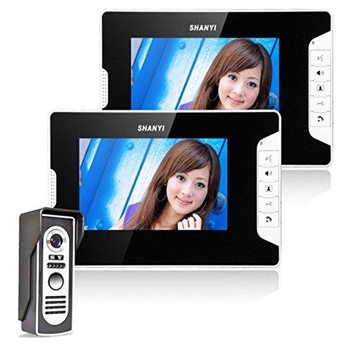 """Ennio 7"""" LCD Monitor Unlock 1 Camera 2 LCD Screen Wired Video Door Phone Intercom Doorbell System"""