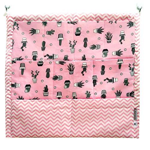 Bolsa de Cuna para Cuna Organizador Colgante Colgador de Armario con 4 Bolsillos Organizador de Accesorios 52x55CM (Cactus (rosa))