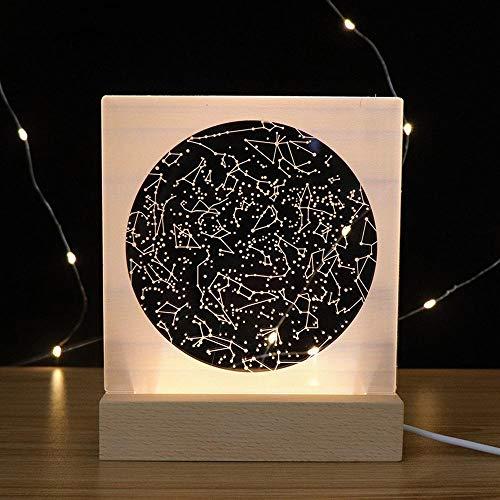 szzyxydd 3D Lampe,3D-Illusionslicht, Led-Kindernachtlicht USB-Netzteil, Massivholzsockel, Kinderweihnachten, Neujahr, Geburtstagsgeschenk, Sternbild
