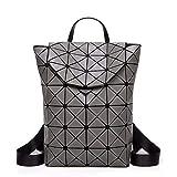 VHVCX Desgin Bao bolsa luminoso mochila para chicas adolescentes Bolsas Escuela láser Moda celosía geométricas mujeres mochilas, gris