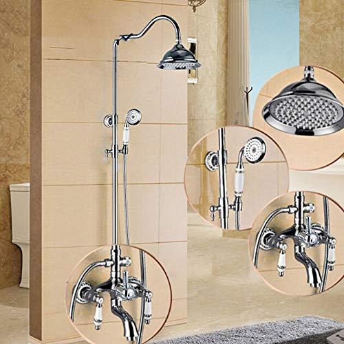 TLLZYBN Doucheset, chroom gepolijst regenbad douche waterkraan set wand badkamer douchesysteem handdouche dubbele greep Dual Control